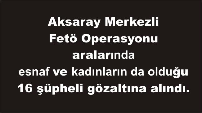 Aksaray Merkezli 9 İlde Fetö Operasyonu