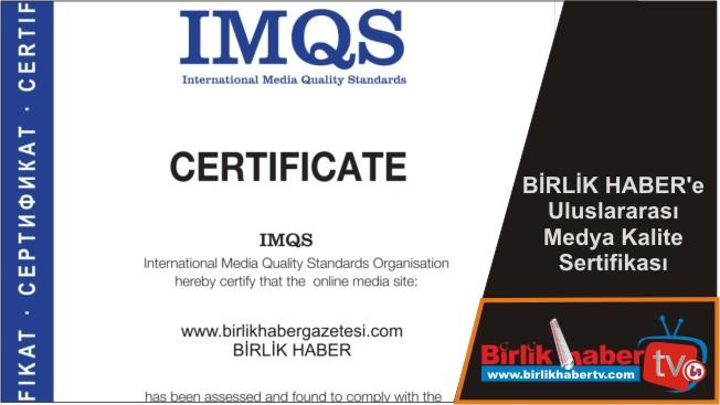 BİRLİK HABER'e Uluslararası Medya Kalite Sertifikası