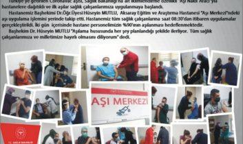 Aksaray'da sağlık çalışanları aşılanmaya başladı